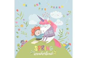 Cute girl hugging unicorn. Spring wonderland