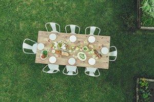 View of garden restaurant table