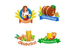 Beer festival Oktoberfest celebrations retro style labels, badges and logos set with  mug on background Vector illustration.