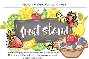 Fruit Stand Watercolor/Vector Art