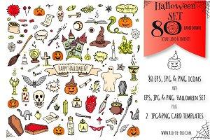 80 Halloween hand drawn symbols!