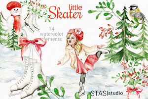 Little Skater Watercolor Clipart