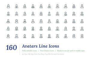 160 Avatars Line Icons