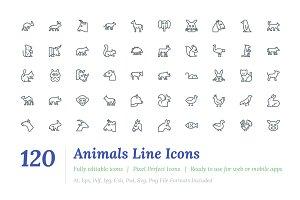 120 Animals Line Icons