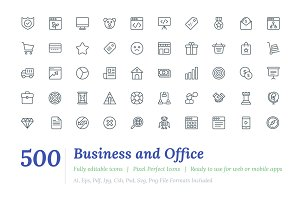 500 Business and Office Line Icons