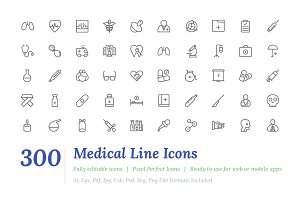 300 Medical Line Icons
