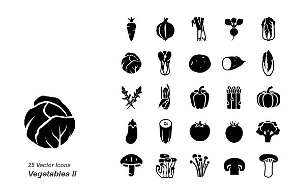 Vegetables II vector icons