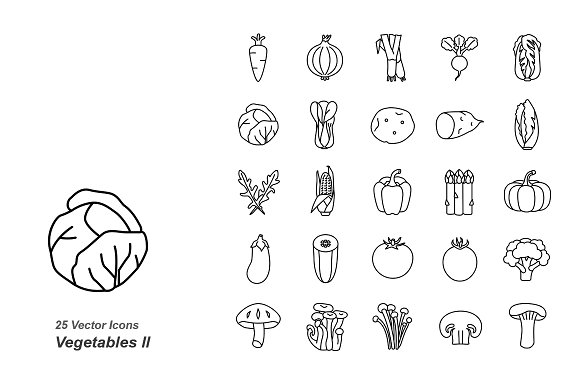 Vegetables II outlines vector icons