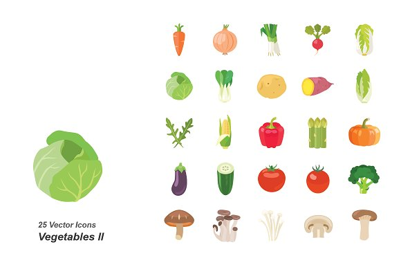 Vegetables II color vector icons in Icons