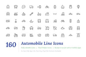 160 Automobile Line Icons