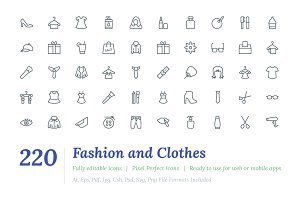 220 Fashion and Clothes Line Icons