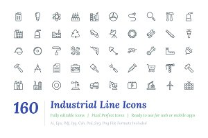160 Industrial Line Icons