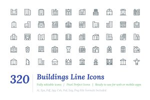 320 Buildings Line Icons