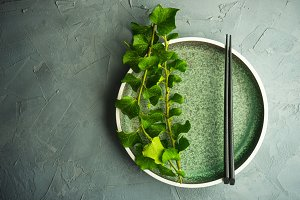 Rustic table setting with ivy plant