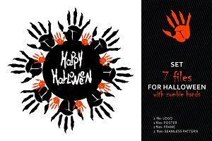 Set of Halloween party elements