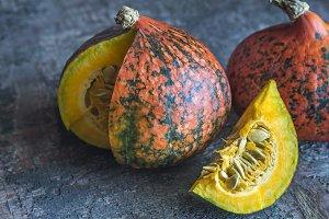 Two hokkaido pumpkins