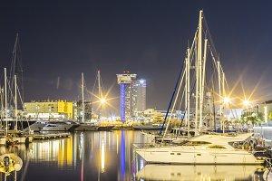 Docked yachtes in Barcelona