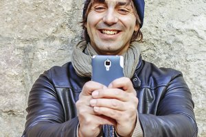 Cute man taking self photo