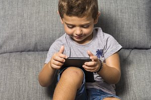 Little boy using a tablet
