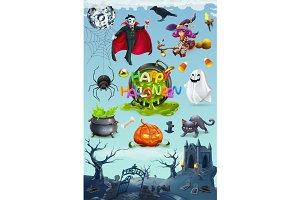 Happy Halloween. 3d vector icon set