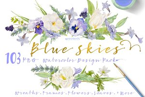 Watercolor Design Pack-Blue Skies