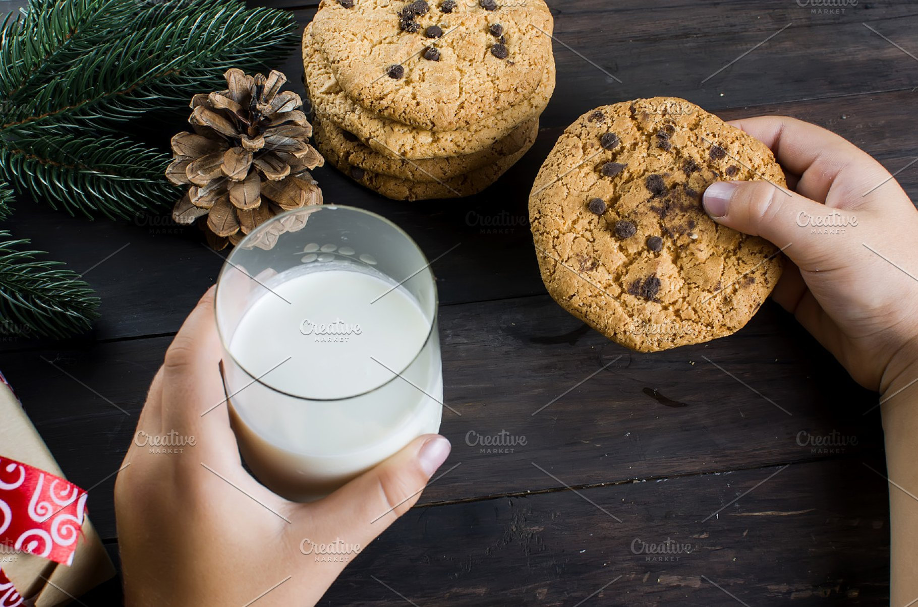 Glass Milk And Cookies For Santa