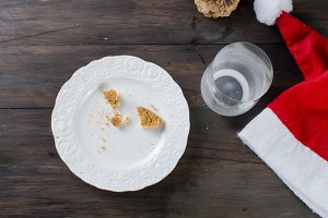 Empty glass and plate from cookies
