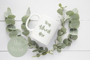 Eucalyptus leaves white mug mockup