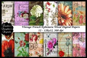 French Vintage Ephemera Wood Papers