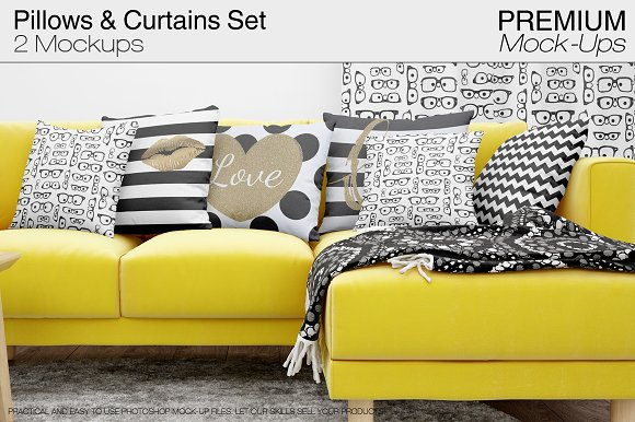 Free Pillows & Curtains Mockups