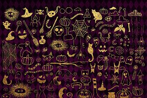 Gold Halloween Doodle clipart