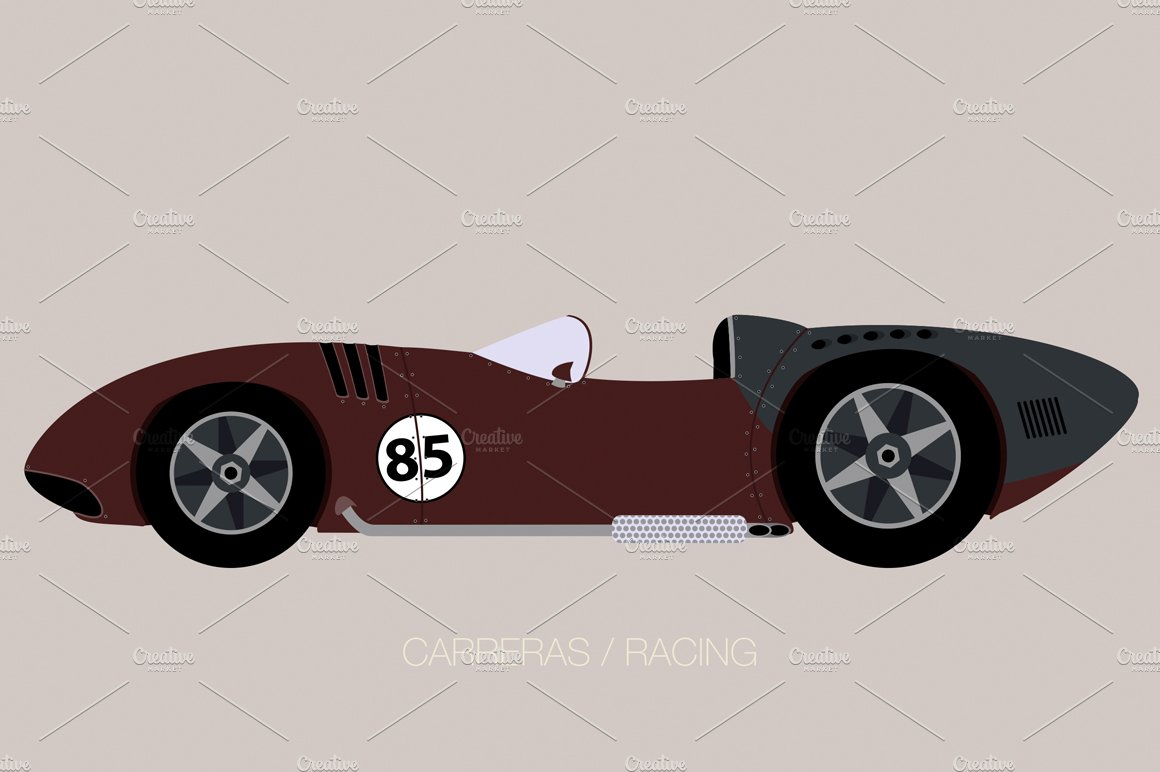 old racing car ~ Illustrations ~ Creative Market