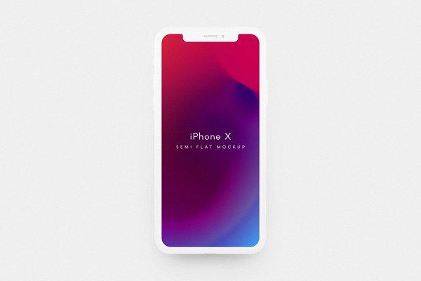 iPhone X Semi Flat Mockup (EDITABLE…