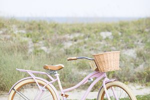 Pink Retro Bicycle at the Beach