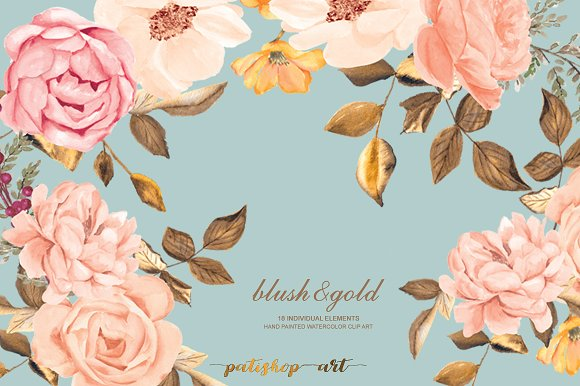 Watercolor Blush Gold Roses Clip Art