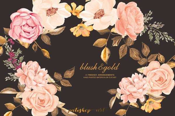 Watercolor Blush Gold Roses Clip Ar…