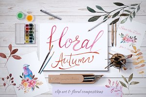 Floral Autumn. Watercolor collection