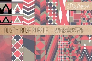 Dusty Rose Purple 16 Pattern Set