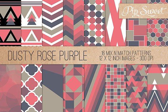 Dusty Rose Purple 16 Pattern Set