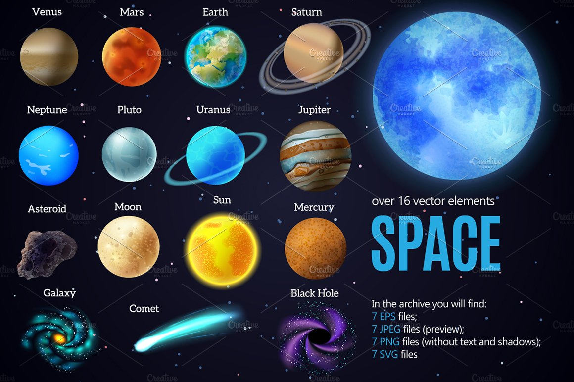 Outer space and planets set illustrations creative market for Outer space stage design