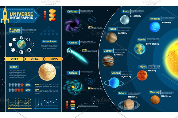 Outer Space & Planets Set in Illustrations - product preview 2