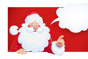 Santa Claus with speech bubble.