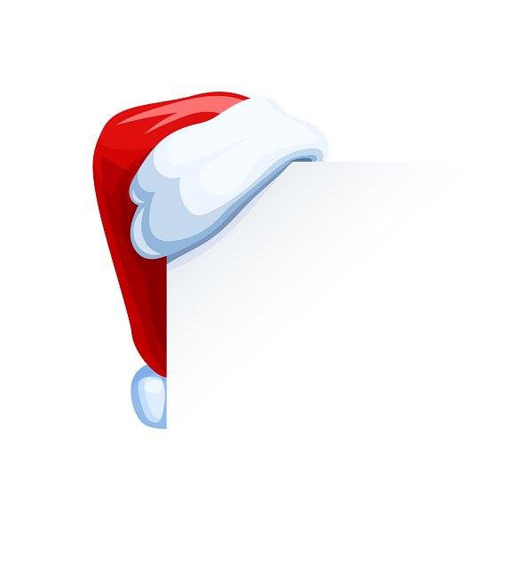 Santa Claus cap hang at corner.