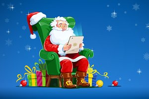 Santa Claus sit in armchair with tab