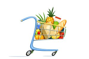 Shopping cart with foodstuff.