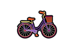 Bike with Basket Embroidery Patch