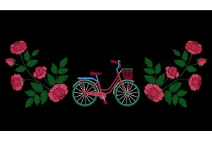 Bike and Roses Embroidery Pattern