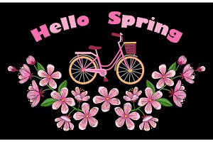 Bike and Cherry Blossom Embroidery Pattern