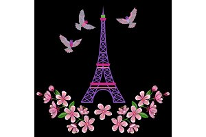 Paris embroidery pattern