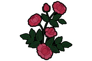 Rose Branch Embroidery Patch